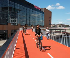 E3X42H Cykelslangen, The Bicycle Tube or Snake, a new bicycle and pedestrian bridge from Dybbolsbro to Bryggebroen.